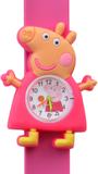 Kinderhorloge happy piggy donkerroze_