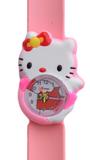 Kinderhorloge hello katje lichtroze met rode strik_