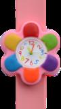 Kinderhorloge kleurrijke bloem roze_