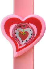 Kinderhorloge swirl hart roze/rood