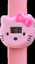 Digitaal kinderhorloge katje met stik lichtroze