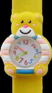 Kinderhorloge blije beer geel