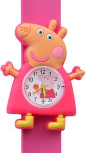Kinderhorloge happy piggy donkerroze